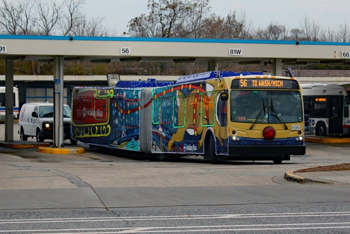 CTA 4374 2017 Jewel-Osco Holiday Bus Jefferson Park Blue Line.JPG